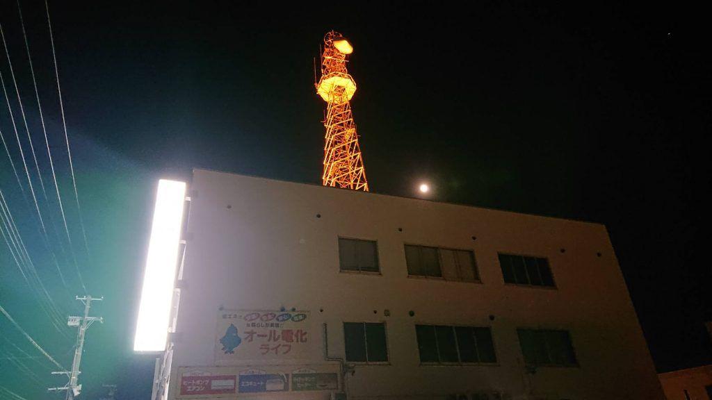 福島県 いわき市東北電力ネットワーク株式会社 いわき電力センター無線鉄塔(2021年)